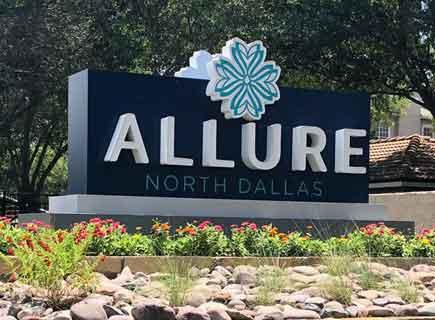 Allure apartment sign monument sign