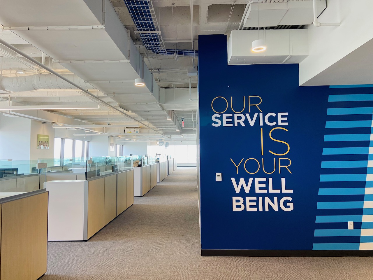 Blue wall graphics wraps